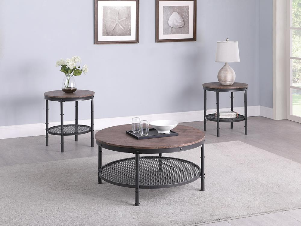 3-piece Round Occasional Set Weathered Brown And Black