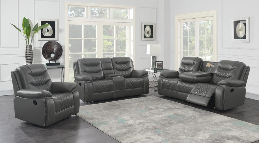 Charcoal - Flamenco 3-piece Tufted Upholstered Motion Living Room Set Charcoal