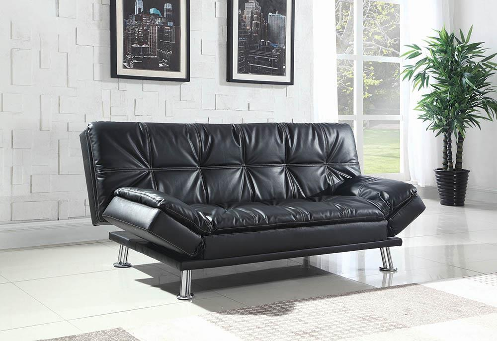Dilleston Collection - Black - Dilleston Tufted Back Upholstered Sofa Bed Black