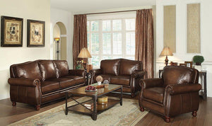 Montbrook Collection - Hand Rubbed Brown - Montbrook Rolled Arm Loveseat Hand Rubbed Brown