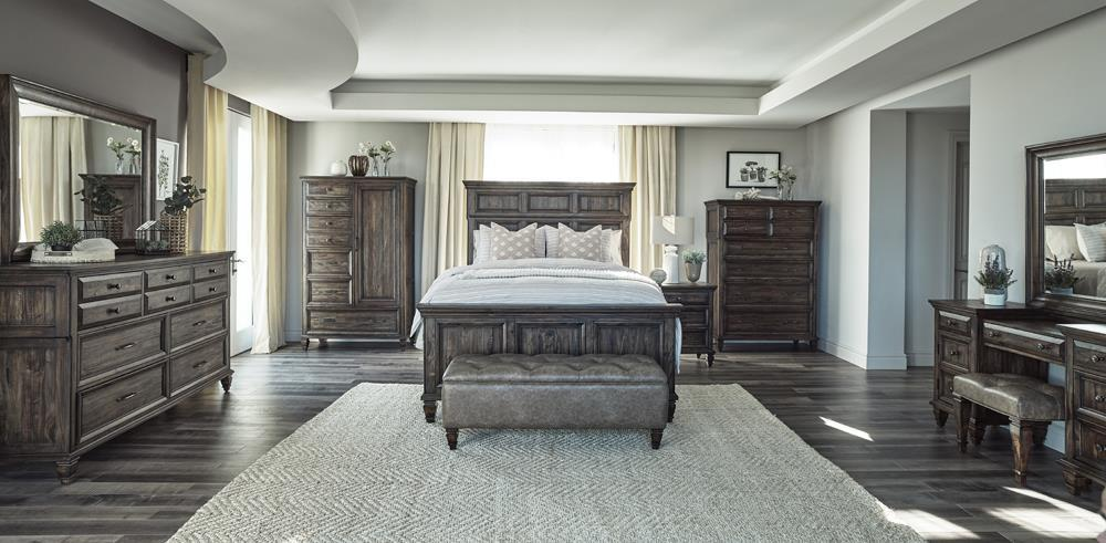 Avenue Collection - Avenue 5-piece Queen Bedroom Set Weathered Burnished Brown