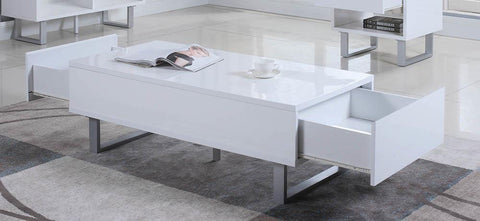 2-drawer Coffee Table High Glossy White