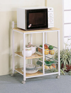 Dining: Kitchen Carts - 2-shelf Kitchen Cart Natural Brown And White