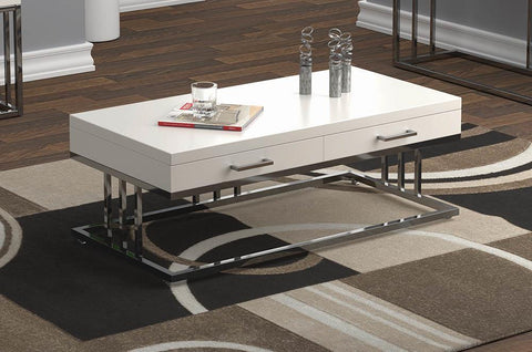2-drawer Rectangular Coffee Table Glossy White And Chrome