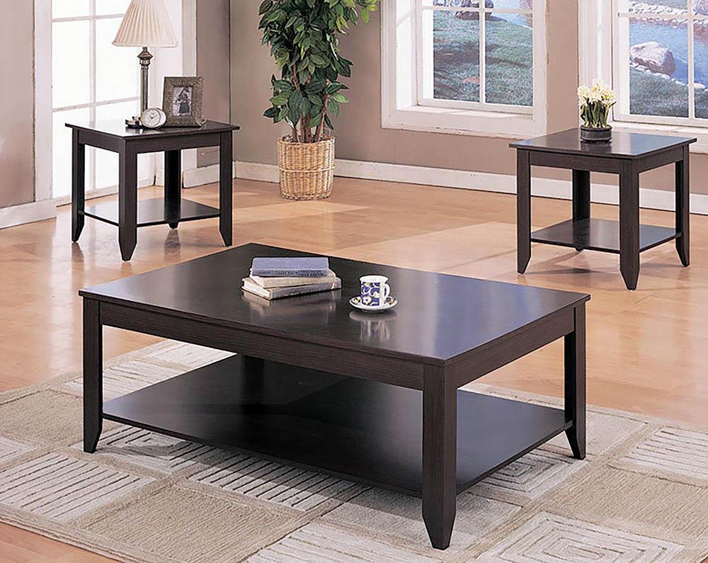 Living Room : Occasional Sets - Stewart 3-piece Occasional Table Set With Lower Shelf Cappuccino
