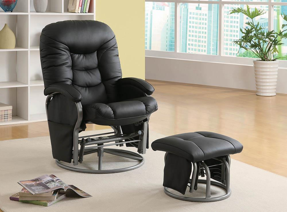 Living Room : Gliders - Black - Push-back Glider Recliner With Ottoman Black