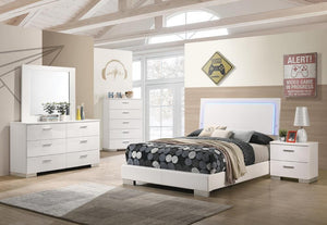 Felicity 6-piece California King Bedroom Set With Led Lighting Glossy White
