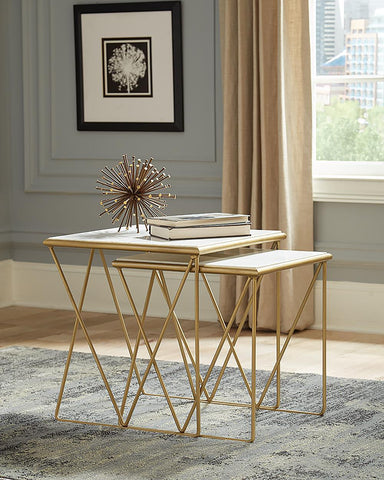 2-piece Nesting Table Set White And Gold
