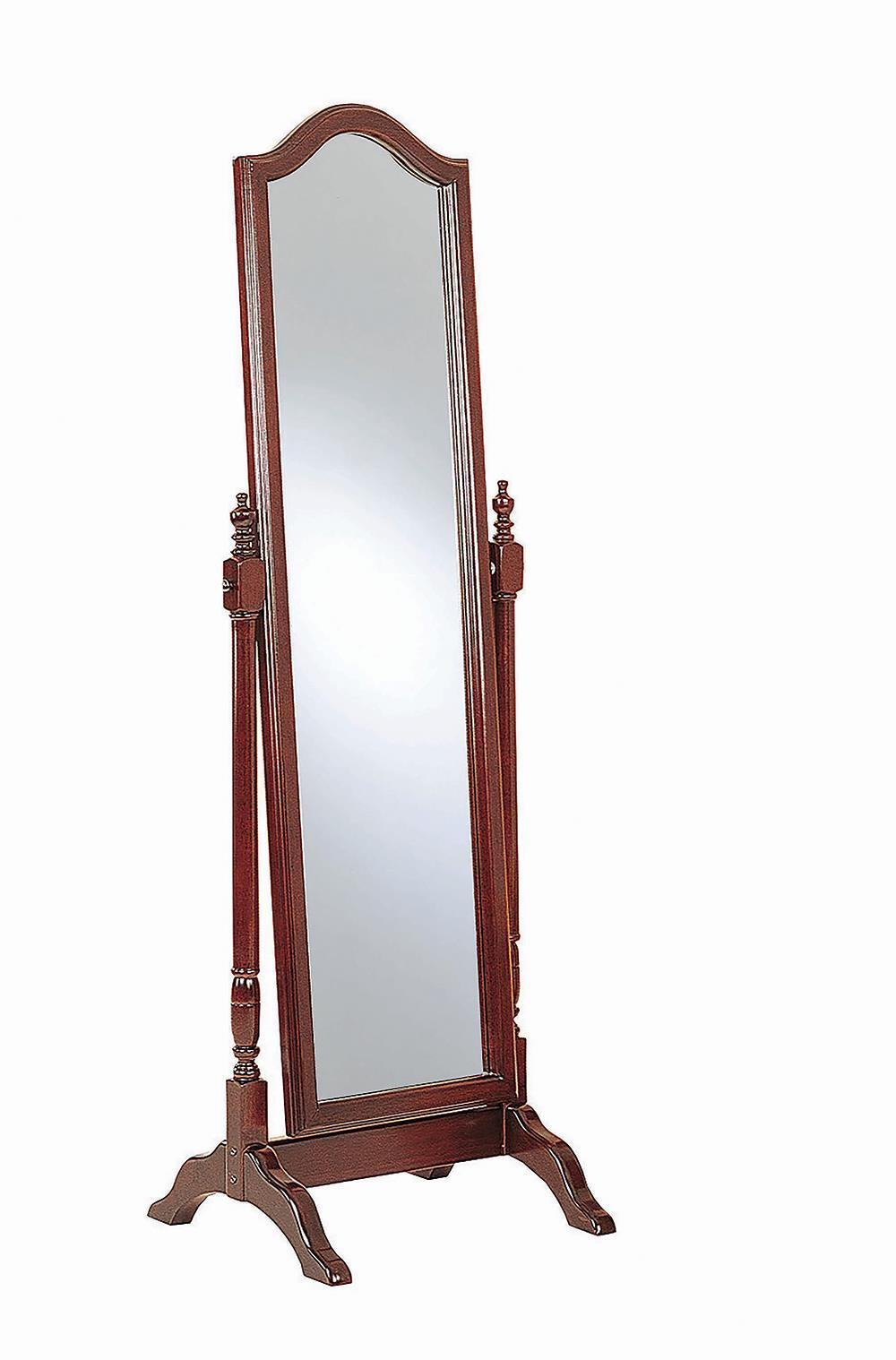 Rectangular Cheval Mirror With Arched Top Merlot