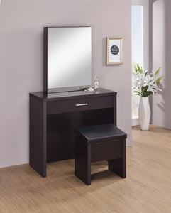 Black - 2-piece Vanity Set With Lift-top Stool Cappuccino