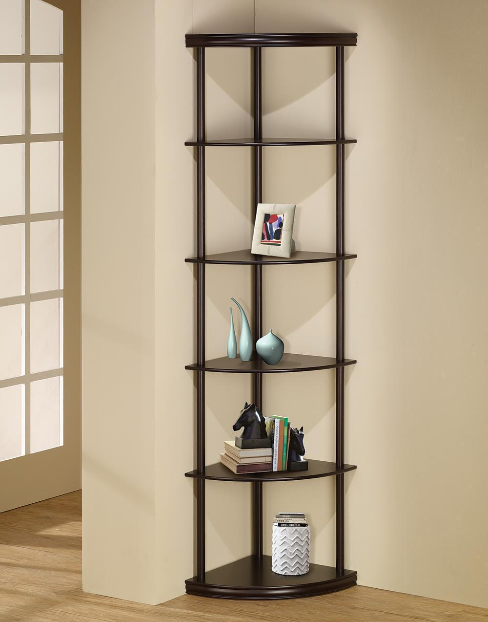 Home Office : Bookcases - 5-shelf Corner Bookshelf Cappuccino