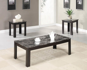 Living Room : Occasional Sets - 3-piece Faux-marble Top Occasional Table Set Black