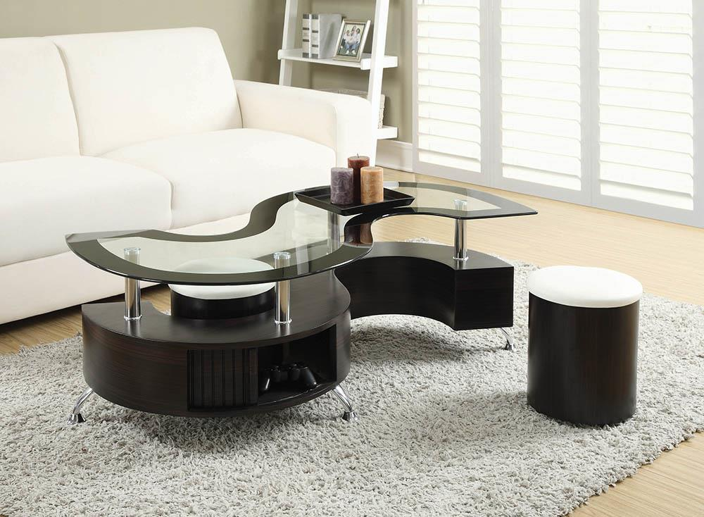 Delange Motion Collection - White - 3-piece Coffee Table And Stools Set Cappuccino