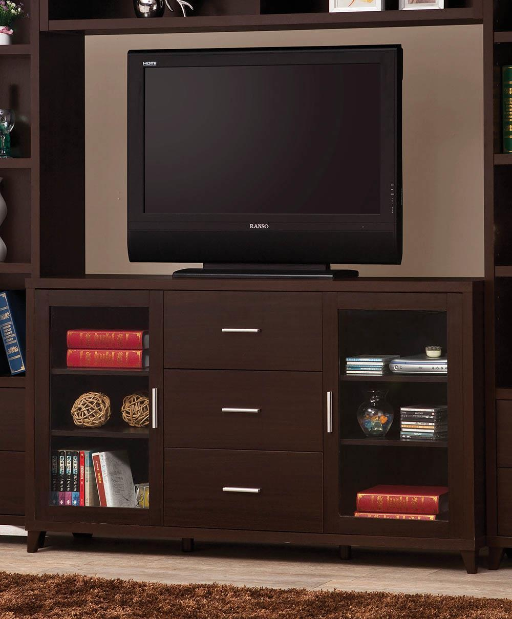 Living Room : Tv Consoles - 2-door Tv Stand With Adjustable Shelves Cappuccino