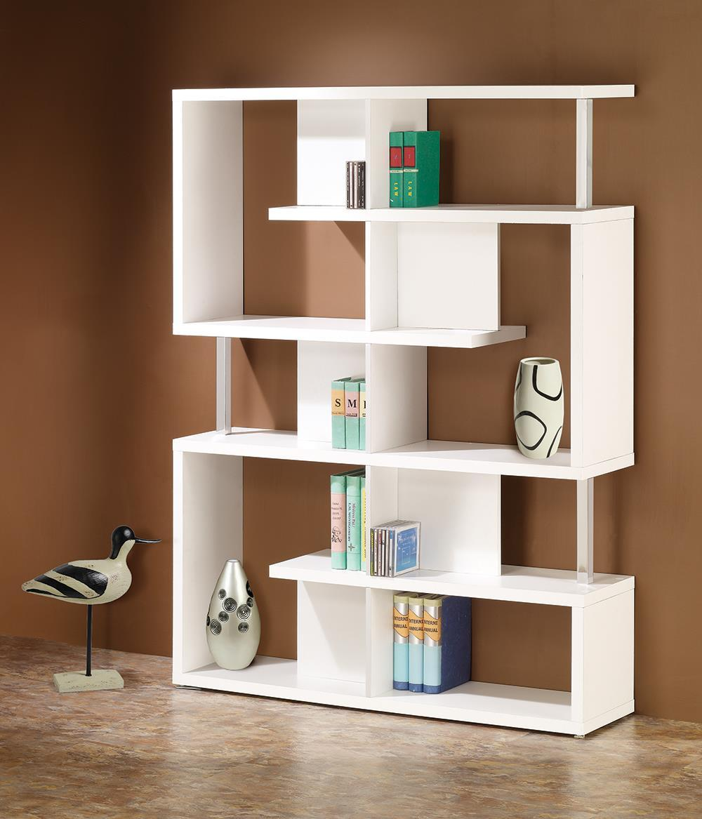 Home Office : Bookcases - 5-tier Bookcase White And Chrome