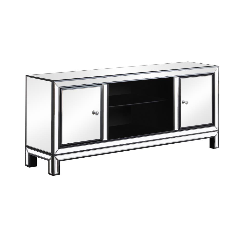 2-door Tv Console Black Titanium And Silver