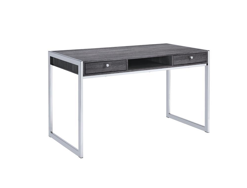 Wallice Collection - Wallice 2-drawer Writing Desk Weathered Grey And Chrome
