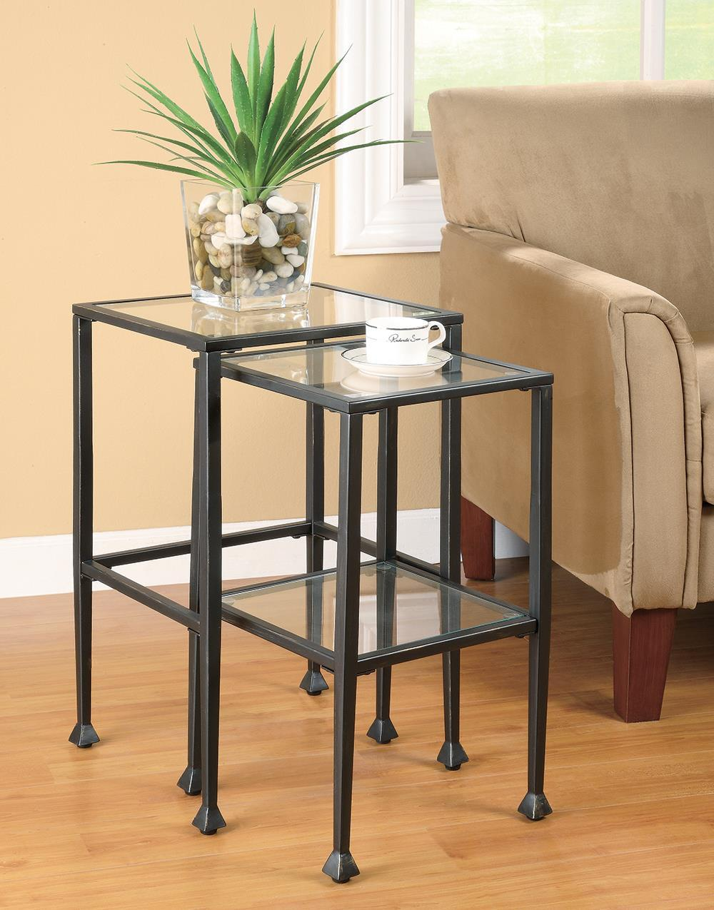 2-piece Glass Top Nesting Tables Black