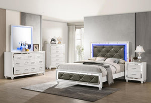 Whitaker Collection - Metallic - Whitaker Eastern King Bed With Led Lighting White