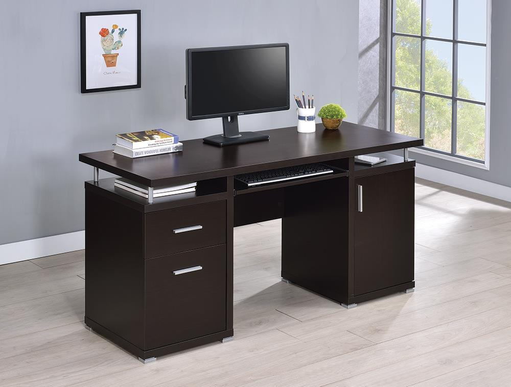 Tracy Desk - Tracy 2-drawer Computer Desk Cappuccino