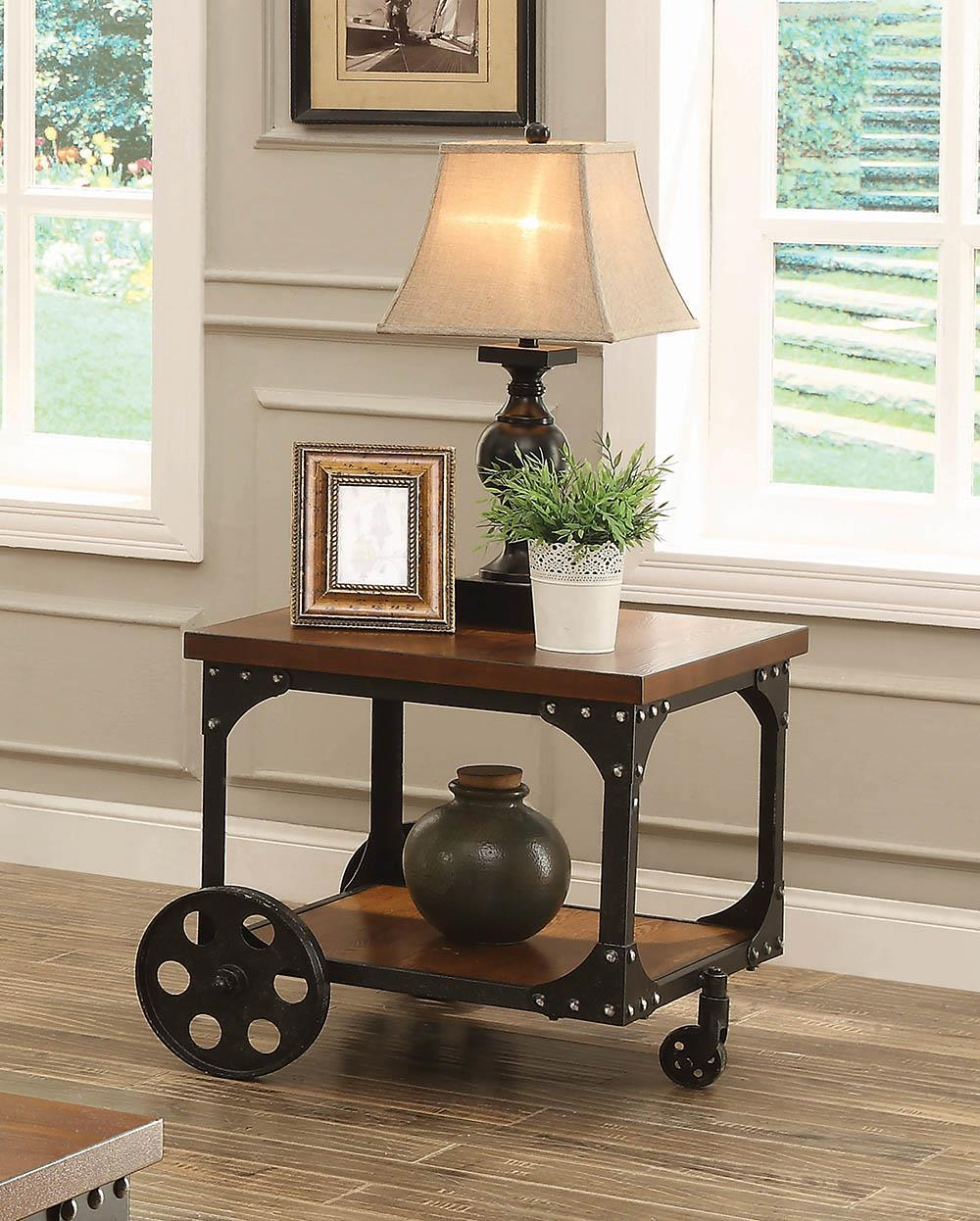 Living Room : Industrial/rustic Occasional Tables - Roy End Table With Casters Rustic Brown