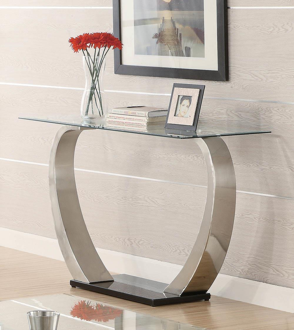 Living Room: Glass Top Occasional Tables - Rectangular Sofa Table Satin
