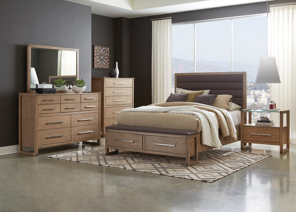 Smithson Collection - Smithson 4-piece Eastern King Storage Bedroom Set With Nightstand Glass Top Grey Oak