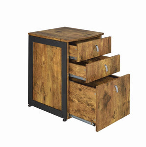 Estrella Collection - Estrella 3-drawer File Cabinet Antique Nutmeg And Gunmetal