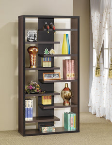 Home Office : Bookcases - Bookcase With Staggered Floating Shelves Cappuccino