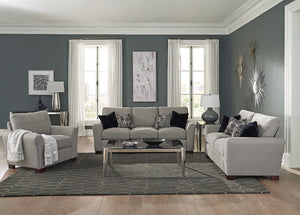 Warm Grey - Drayton 3-piece Flared Arm Upholstered Living Room Set Warm Grey
