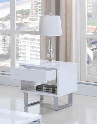 1-drawer End Table High Glossy White