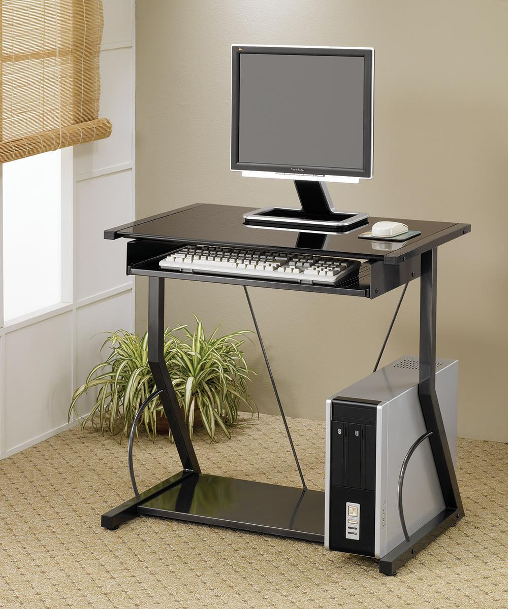 Home Office : Desks - Computer Desk With Keyboard Tray Black