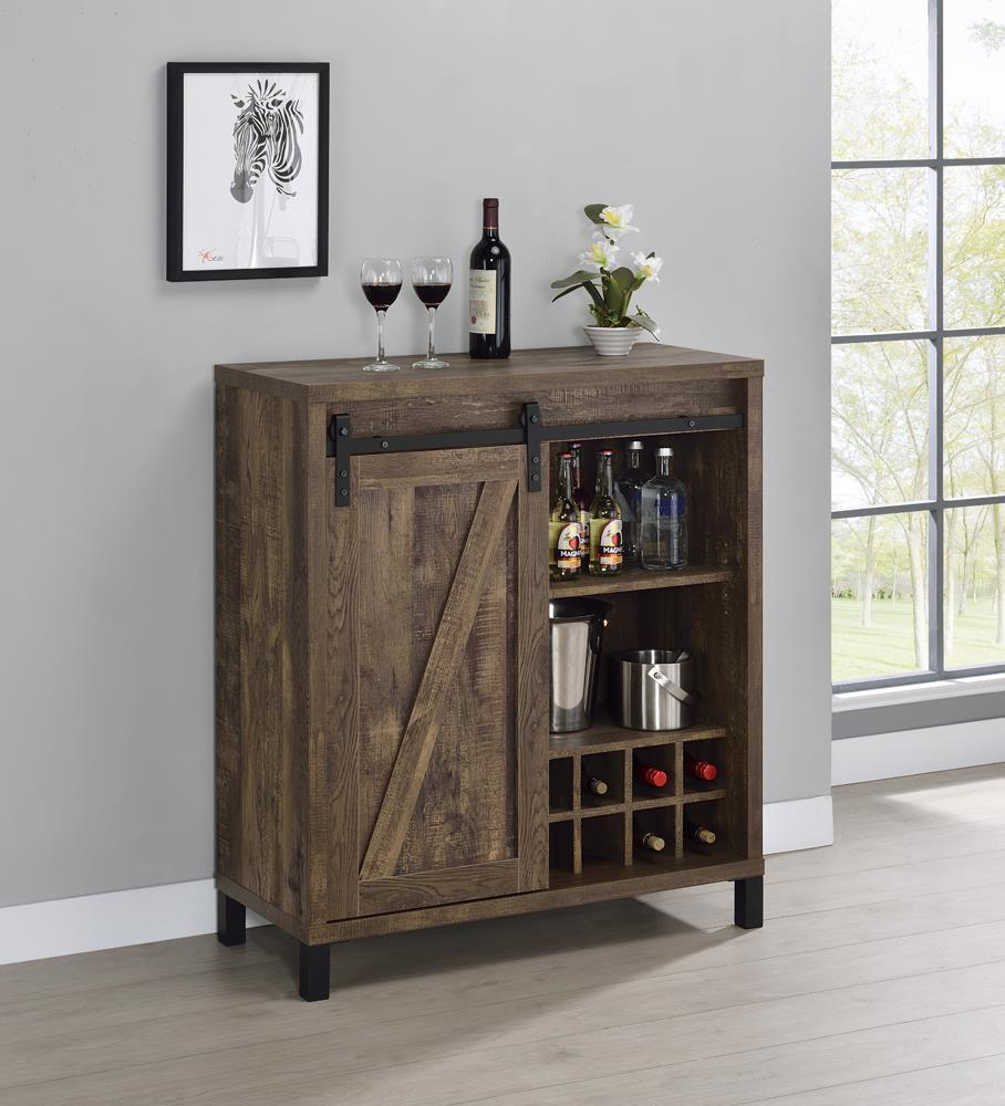Bar Cabinet With Sliding Door Rustic Oak