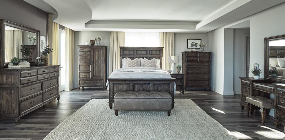 Avenue Collection - Avenue 4-piece Queen Bedroom Set Weathered Burnished Brown