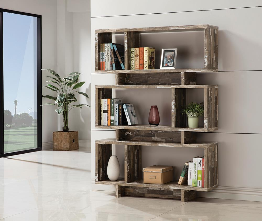 Home Office : Bookcases - 3-tier Geometric Bookcase Salvaged Cabin