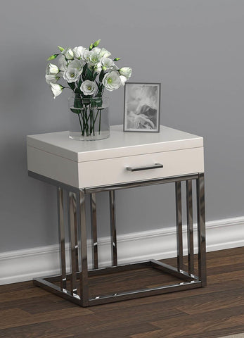 1-drawer Rectangular End Table Glossy White And Chrome