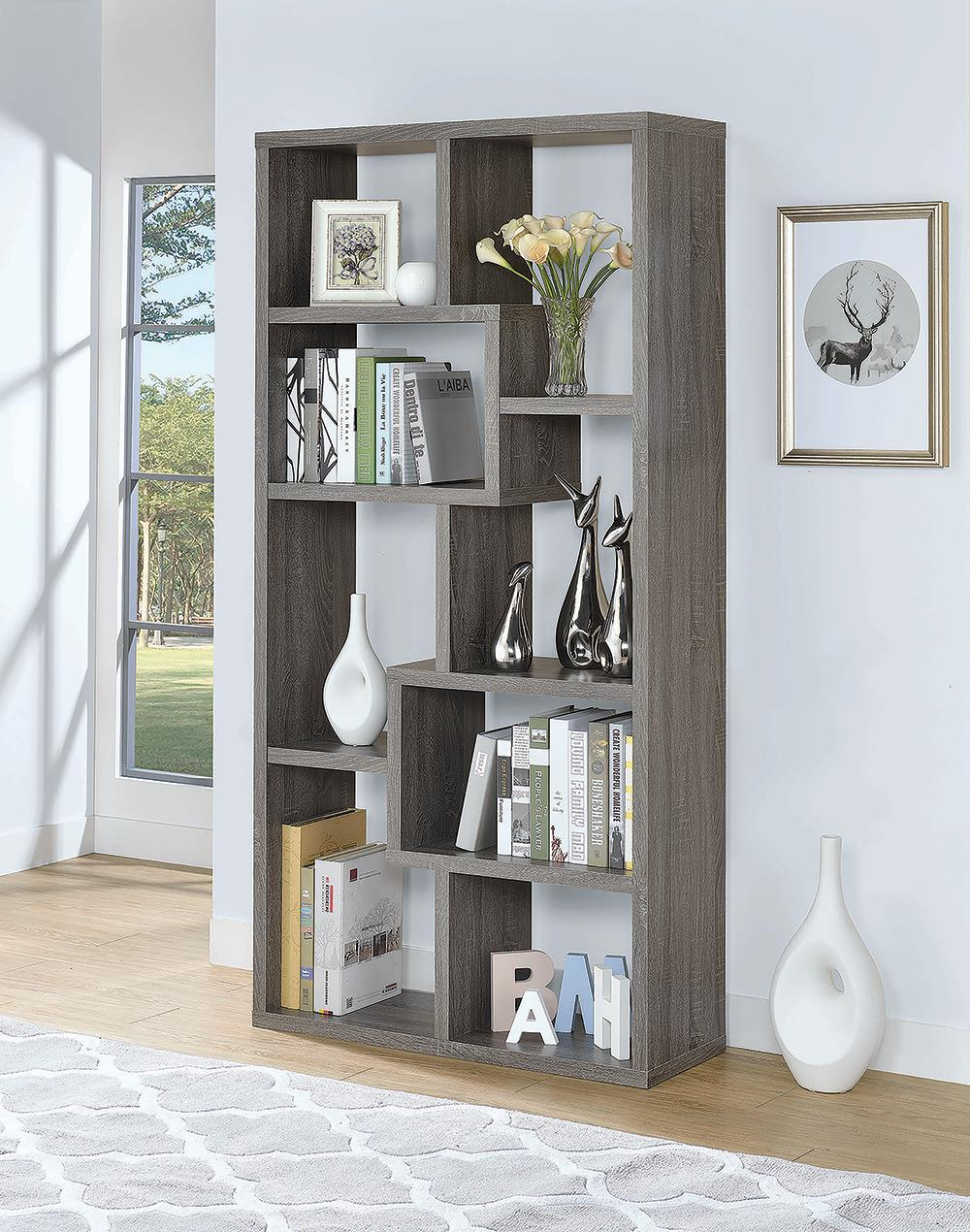 Home Office : Bookcases - 10-shelf Bookcase Weathered Grey