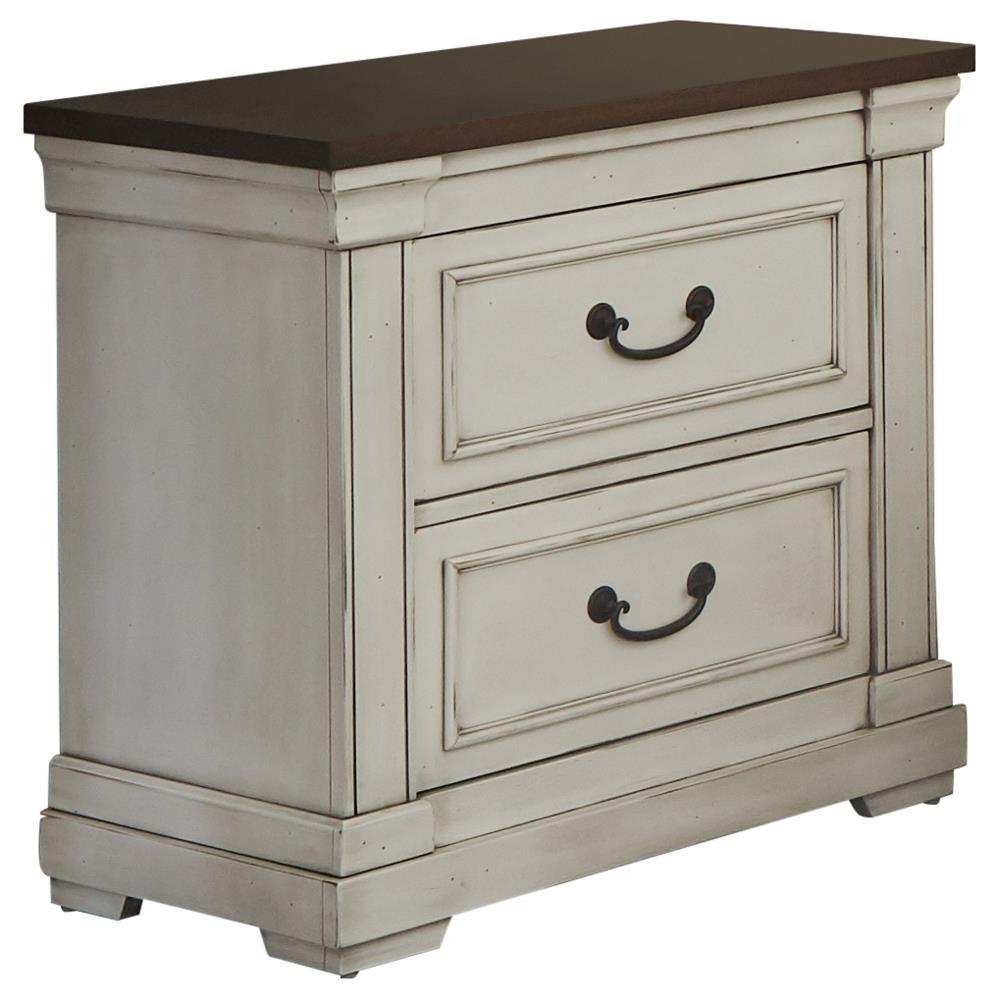 Hillcrest 2-drawer Nightstand Dark Rum And White