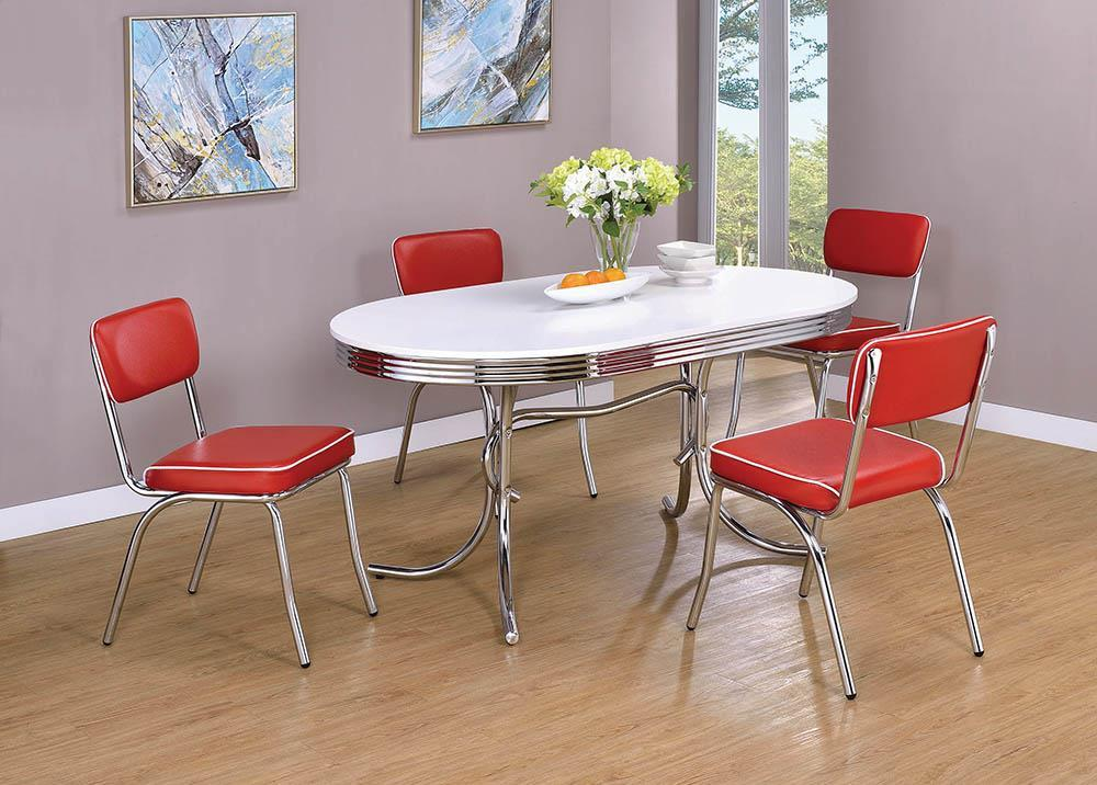 Retro Collection - Red - Retro Open Back Side Chairs Red And Chrome (Set of 2)