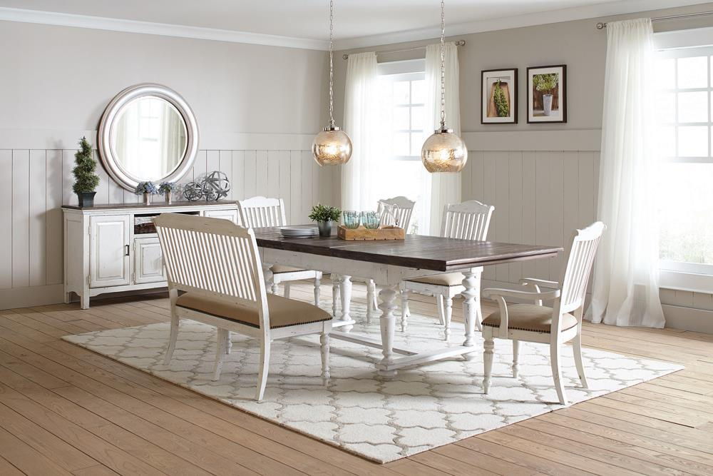 Sipson Collection - Simpson 6-piece Rectangular Dining Set Vintage White And Vintage Latte