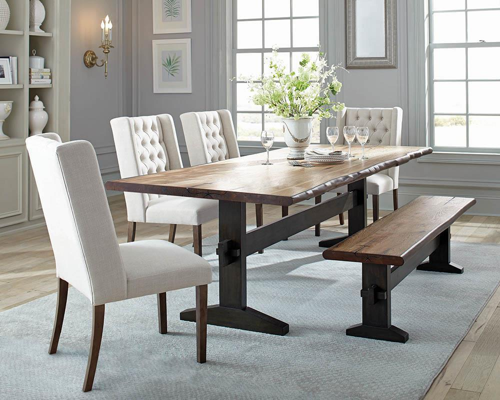 Bexley Live Edge Trestle Dining Table Natural Honey And Espresso