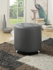 Accents : Ottomans - Grey - Round Upholstered Ottoman Grey