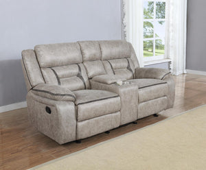 Taupe - Glider Loveseat W/ Console