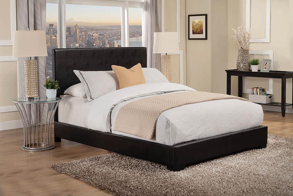 Conner Collection - Black - Conner Full Upholstered Panel Bed Black