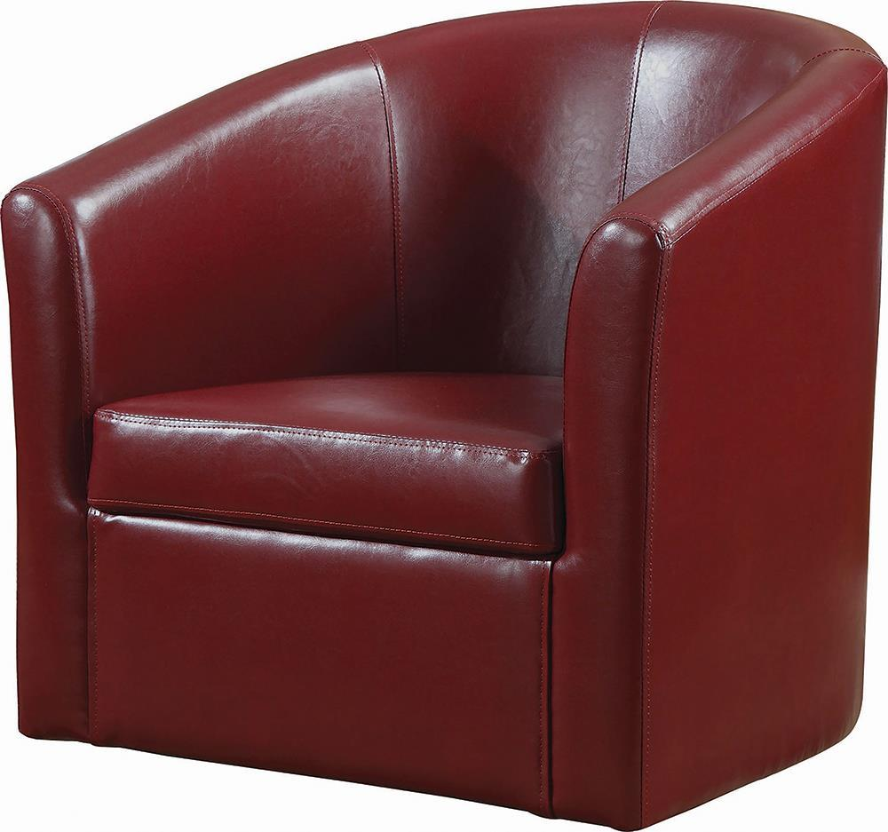 Accents : Chairs - Red - Upholstery Sloped Arm Accent Swivel Chair Red