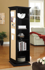 Swivel Accent Cabinet With Cork Board Black