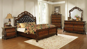 Exeter Collection - Exeter 4-piece Eastern King Tufted Upholstered Sleigh Bedroom Set Dark Burl