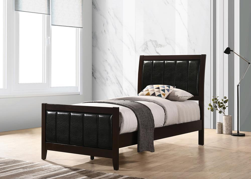 Carlton 4-piece Twin Upholstered Bedroom Set Cappuccino And Black