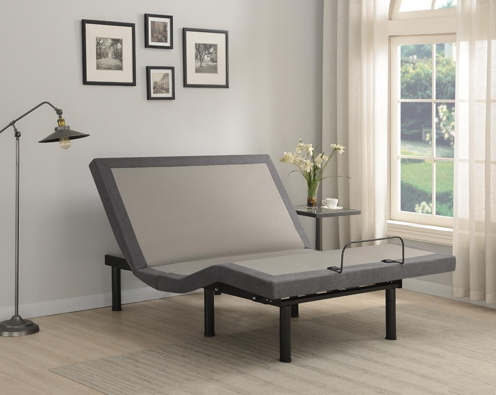 Grey - Clara Full Adjustable Bed Base Grey And Black