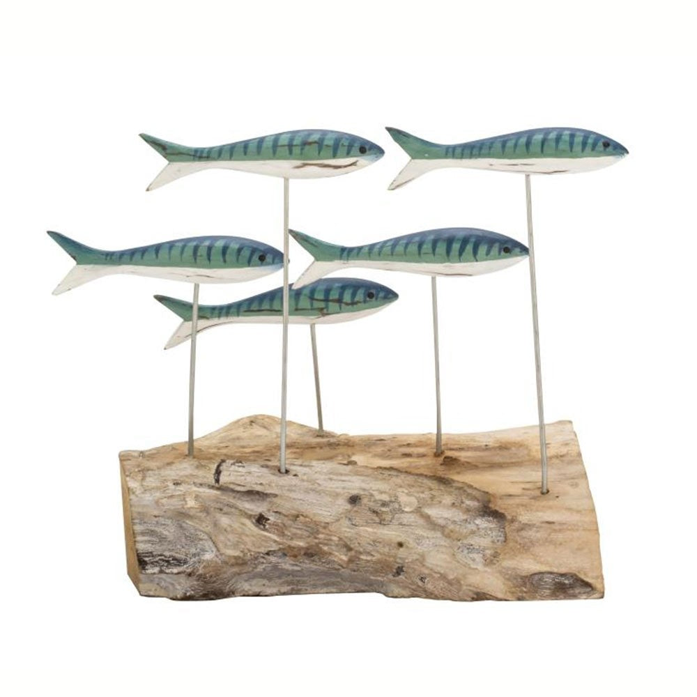 HAND CARVED | BLUE MACKEREL FISH SHOAL
